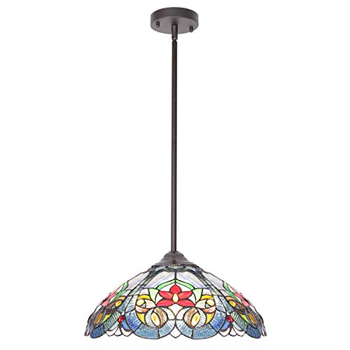 VINLUZ Tiffany Glass Chandeliers Lighting 16-inch Shade Multi-Colored 3-Lights Antique Pendant Ceiling Light Fixtures for Bedroom Living Room