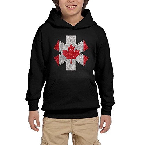 Youth Black Hoodie EMT Paramedic Cross Canada Maple Leaf Flag Hoody Pullover Sweatshirt Pocket Pullover For Girls Boys M by Hapli