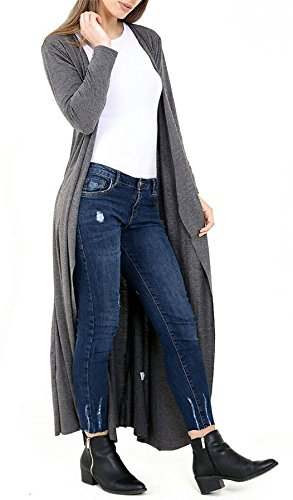 fidanzato Wear 3XL Fashions Maxi Open lunga Casual Islander Charcoal S Ladies Womens Cardigan Long Manica Front HfnFqg