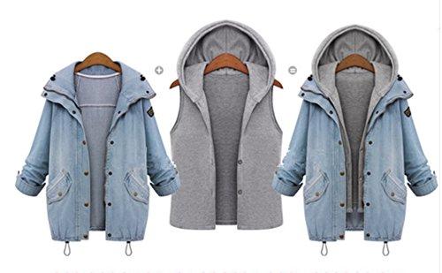Hiver Veste Jean Manteaux Casual Pice Gilet Femme Denim EVERY Hoodie Capuche Blouson Bleu Coat 2 Jacket Jean Outwear wYHBCq8Cx