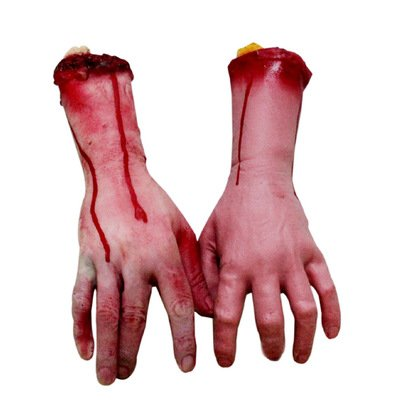 Halloween Food Like Body Parts (XONOR Fake Human Arm Hands Bloody Dead Body Parts Haunted House Halloween Decorations, 2-Pieces (Left and)
