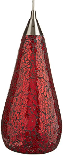 Elk 546-1RBY-CRC-LED Curvalo 1-LED Light Pendant with Ruby Crackle Glass Shade, 6 by 13-Inch, Satin Nickel Finish