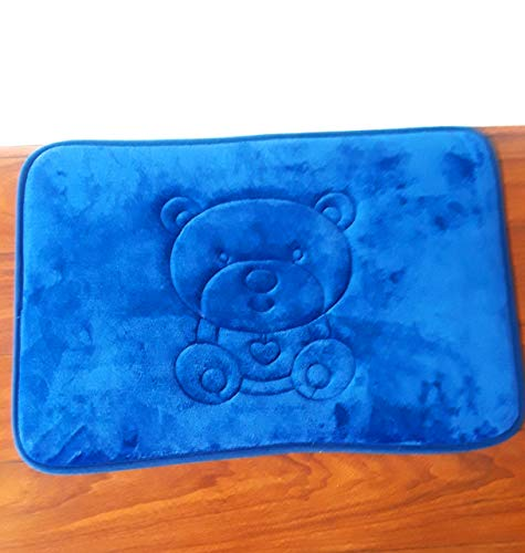 Teddy Bear Pattern Non Slip Memory Foam Accent Rug - for Bathroom, Playroom, Bedroom (16 x 24 inch) Bright Blue Color by Fourgirlclover (Image #4)