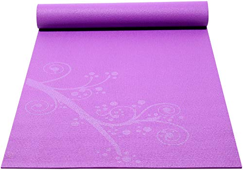 Sol Living Premium Extra Thick Non-Slip Yoga Mat - Durable Yoga Mats for Fitness,Meditation, Pilates, Workout and Exercise 24 x 72 Inches (Purple Tree)