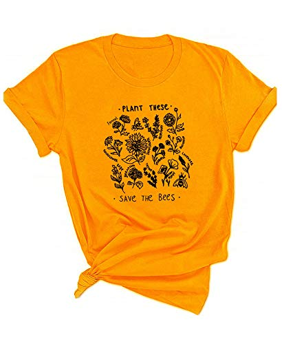 Qrupoad Womens Plant These Save The Bees Tee Funny Garden T-Shirt Causal Cotton Graphic Tees Shirts Gold (T-shop International)