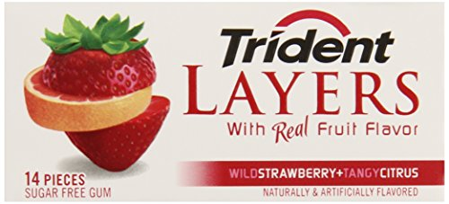 Trident Layers Gum, Wild Strawberry +  Tangy Citrus (3-Pack), 14-Piece Packs (Pack of 5)