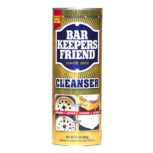 Bar Keepers Friend Powder Cleanser (21 oz - 4-pack) - Multipurpose Cleaner & Stain Remover - Bathroom, Kitchen & Outdoor Use - For Stainless Steel, Aluminum, Brass, Ceramic, Porcelain, Bronze and More ()