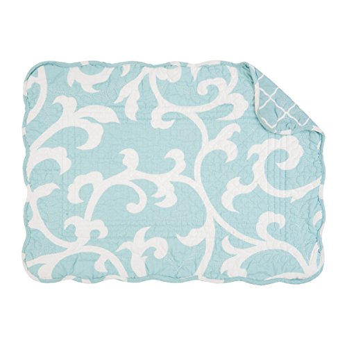 C&F Home Ellie Blue White Scroll Geometric Place Mats Rectangular Cotton Quilted Reversible Washable Placemat Set of 6 Rectangular Placemat Set of 6 Seafoam