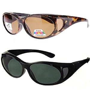 Polarized Fit Over Sunglasses 2865, Size Medium, Black and Tortoise