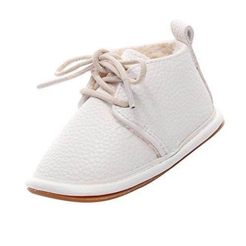 Kimloog Newborn Infant Toddler Pu Leather Fur Warm Crib Shoes Baby Girls Boys Soft Sole Anti-Slip Sneakers (White1, 5 M US Toddler)