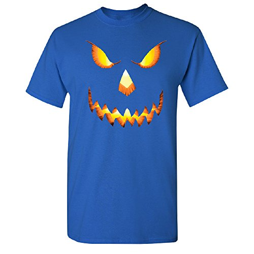 Jack O Lantern Face Men's T-shirt Funny Halloween 2017 Tee Royal Blue -