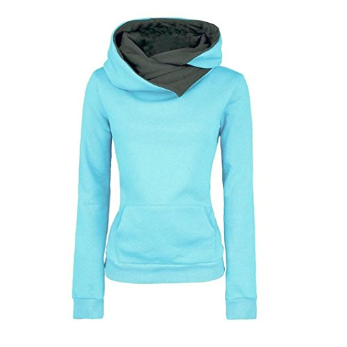 Perman Women Long Sleeve Hoodie Sweatshirt Sweater Hooded Cotton Coat Pullover (US XL, Blue)