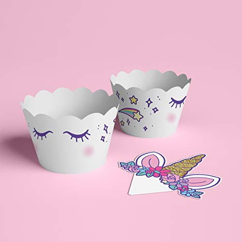 xo, Fetti Unicorn Cupcake Toppers + Wrappers | Unicorn Party Supplies + Unicorn Birthday Cupcake Decorations - Set of 24 by xo, Fetti (Image #1)