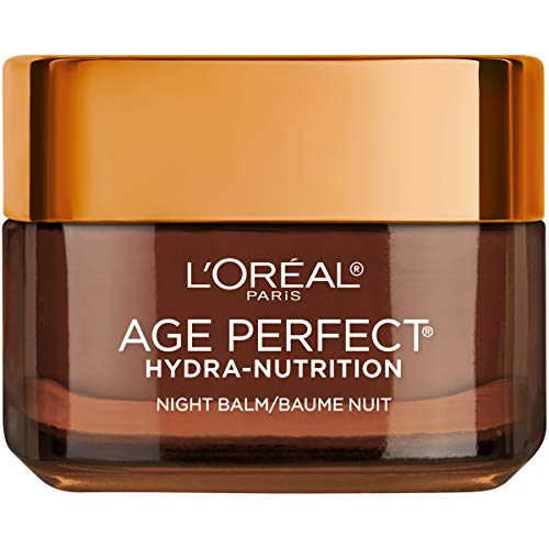 Hydration Night Cream - Night Cream by L'Oreal Paris, Age Perfect Hydra-Nutrition Night Balm Face Moisturizer with Manuka Honey Extract and Nurturing Oils to Comfort and Improve Resilience on Dry Skin, Paraben Free, 1.7 oz.