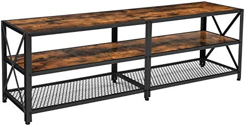 VASAGLE TV Stand for TV up to 70 Inches, TV Table, Entertainment Center, 3-Tier TV Console, Steel Frame, Industrial Style, for Living Room, Rustic Brown and Black ULTV095B01