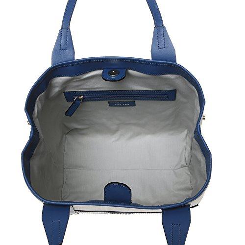 Trussardi bolso de compras de la mujer con manijas grandes, tela y partes de cuero de becerro genuino 34x27x16 Cm Mod. 76B120M Beige Azul