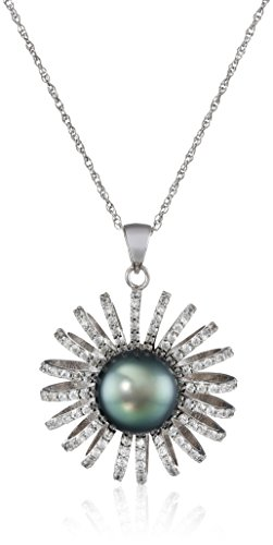 """Sterling Silver Tahitian Cultured Black Pearl and Cubic Zirconia Pendant Necklace, 18"""""""