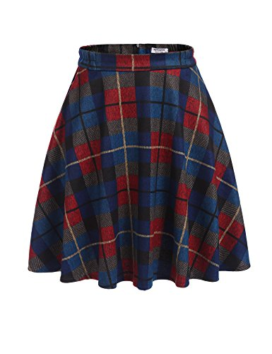 Check Print Skirt (HOTOUCH Women's High Waisted Wool Check Print Plaid Aline Skirt Blue S)