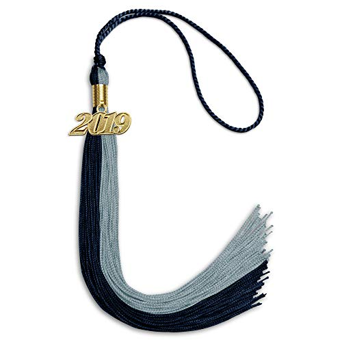 - Double Color Graduation Tassel With Date Drop (Dark Navy Blue/Light Blue)