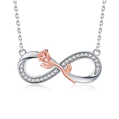 Apotie 925 Sterling Silver Infinity and Cross Pendant Necklaces Jewelry Gift for Women ... (Rose)
