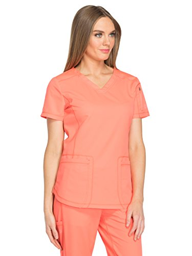 Dynamix Women's DK730 V-Neck Top by Dickies Medical- Vibrant Coral- X-Small -