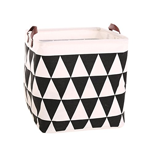 Square Canvas Toy Storage Bins Basket with Handle Collapsible Toy Organizer for Nursery Storage, Kids Toy & Laundry, Gift Baskets (Black Triangle)