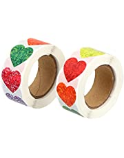 NUOBESTY 2 Rolls Heart Label Stickers Heart Shaped Labeling Sticker for DIY Greeting Card Invitation Card Valentines Day Wedding Business Activities Gift Wrapping Party Favor