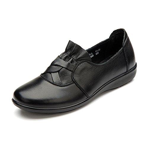Zapatos de otoño/Las señoras profunda boca zapato plano/Zapatos de mamá/Zapatos del tamaño grande del B