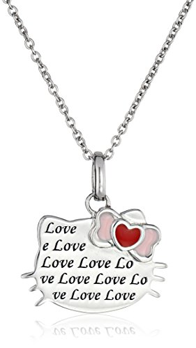 Hello Kitty Streling Silver Heart Bow Love Engraved Silhouette Pendant Necklace