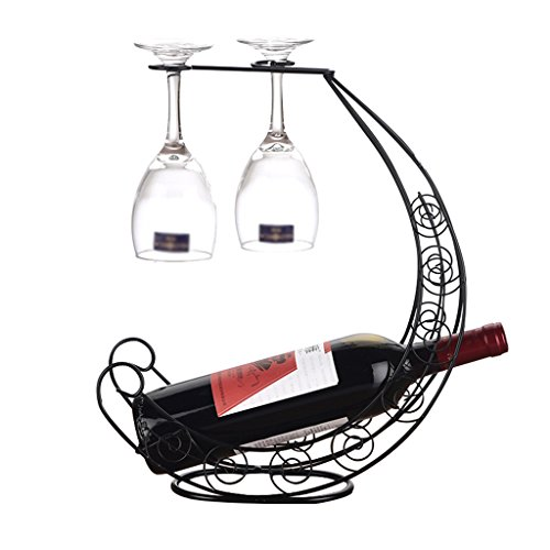 He Xiang Firm Wine glasses wine rack dual-use frame black wrought iron wine rack decoration home wine cabinet wine rack ornaments by He Xiang Firm