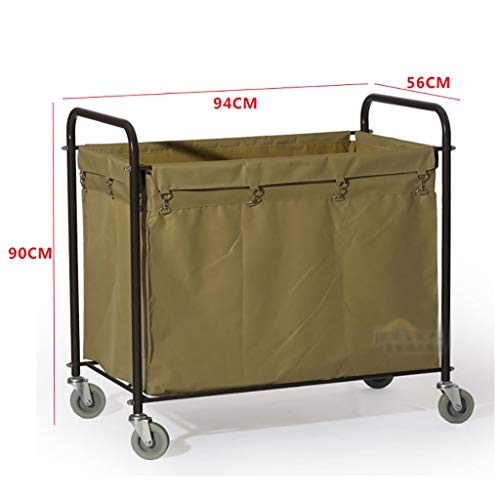Hotel Cart, Carbon Steel Thick Linen car Hotel Hotel Room Cleaning Hand Push Work car by HT trolley (Image #3)