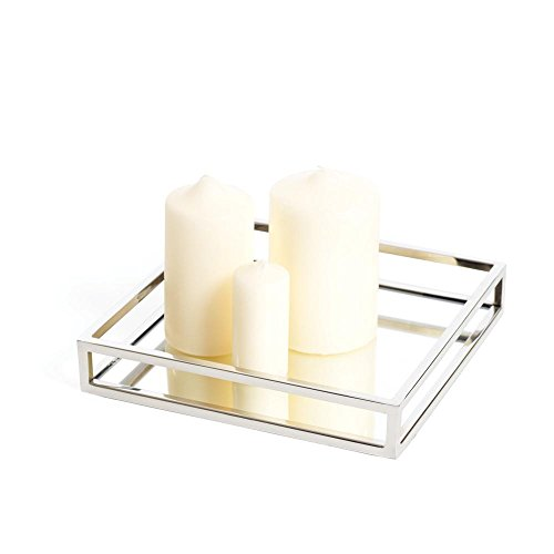 Beautiful Mirrored Tray With Chrome Rails, Elegant Square Vanity Mirror Tray with With Side Bars, Makes A Great Bling Gift - Square Silver Tray