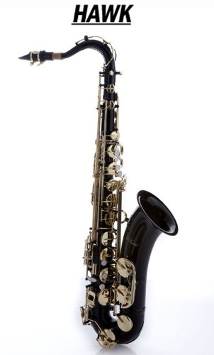 Hawk WD-S411C-BK Tenor Saxophone with Case, Mouthpiece and Reed, Black