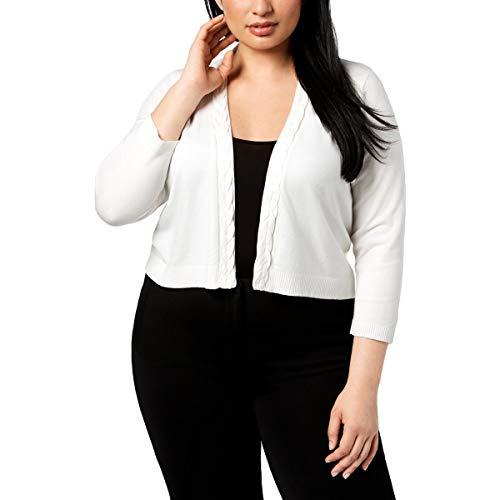 Calvin Klein Womens Plus Braided-Trim Cropped Cardigan Sweater White 2X