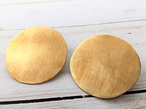 1.5 Inch Brass Circle Stud Earrings