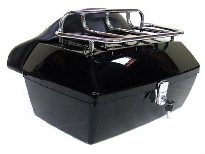 TMS TBOX-JK1001-K Motorcycle Luggage Tour Trunk Tail Box with Top Rack Backrest