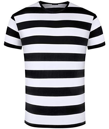 Black And White Striped Shirt Halloween Costume (Ezsskj Men's Black White Striped T Shirt Halloween Costume Stripes Tee Tops)