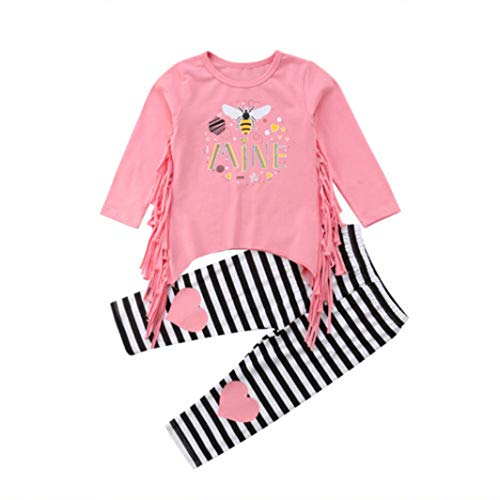 Toddler Baby Girl Outfits Long Sleeve Tassel Tops Shirts Stripe Pants 1-5T Clothes Set(1T,Pink) (Love Letter To Ask A Girl Out)