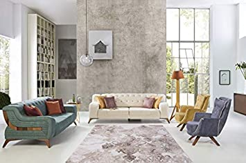 Kayoom Design Elfenbein TEPPICHE TEPPICHE VERWASCHEN MODERN KLASSISCH  Wohnzimmer BEIGE, Größe:80cm X 150cm