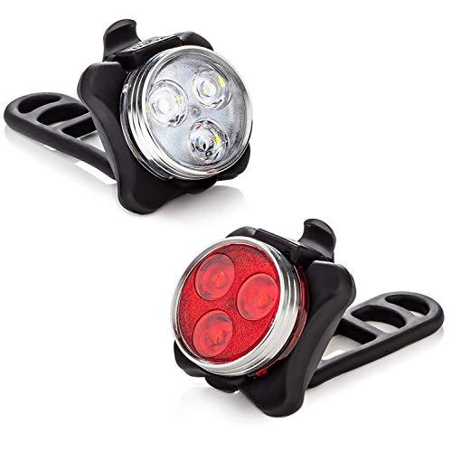 Vont Bike Light Set, USB Rechargeable Super Bright Bicycle Light, Bike Lights Front and Back, Bike Headlight, 2X Longer Battery Life, Waterproof, 4 Modes (2 Cables, 4 Straps)