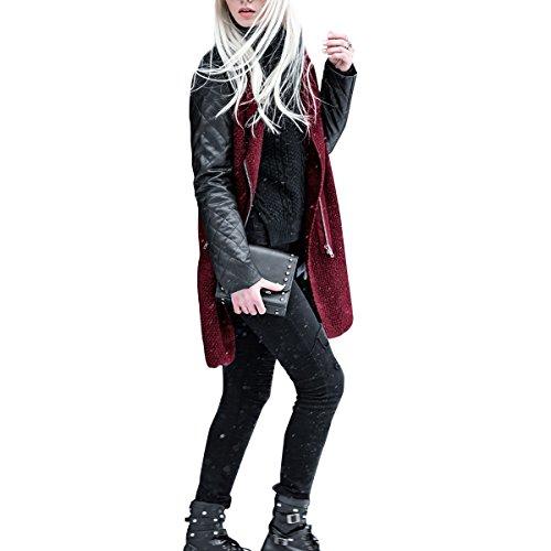 Donnagelia Abrigo para Mujer Chaqueta de mujeres Abrigo largo caliente Cuello Chaqueta Parka de invierno Desgastar Cuero de PU Rojo