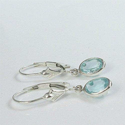 Apatite Gemstone Sterling Silver Leverbacks (Apatite Oval Earrings)