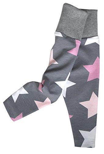 WOLLHUHN ÖKO Bequeme Legging / Babyhose Big Stars grau/rosa/pink für Mädchen (aus Öko-Stoffen, bio), 20160303, Größe: 62 (ca. 3-6 Monate)
