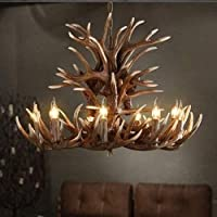 Farmhouse Rustic Candle Chandelier Resin Antlers Shade Creative Design Antler Chandelier Modern 9 Lamps American Country…