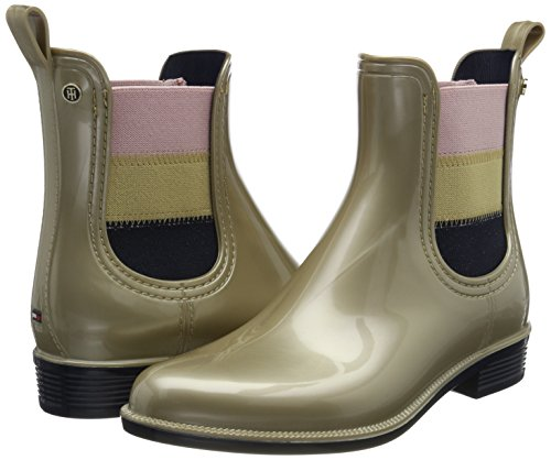 Tommy Boots light Women''s O1285dette Beige Gold 16v1 Hilfiger Wellington rPrFqTw