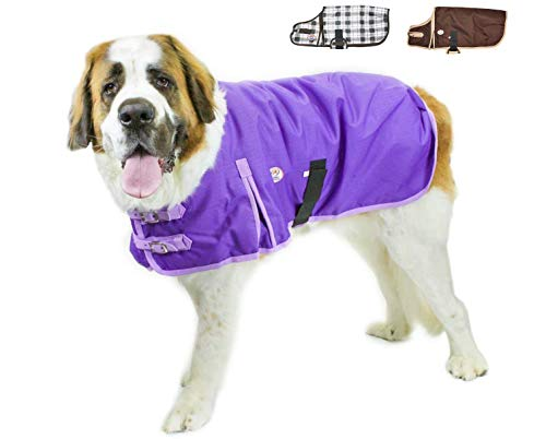 """Derby Originals Horse Tough 1200D Waterproof Winter Dog Coat with 2 Year Warranty - Designed with Heavy Duty Ripstop Nylon & No Rub Breathable Inner Lining Insulated - Multiple Styles & Sizes, Extreme Elements Series, 26.5"""", Purple"""