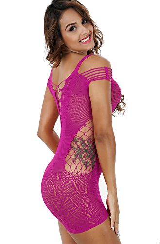 Vorifun Women Fishnet Lingerie See Through Sleepwear One Piece V-Neck Babydoll  Mini Dress One 7bf21f5e1