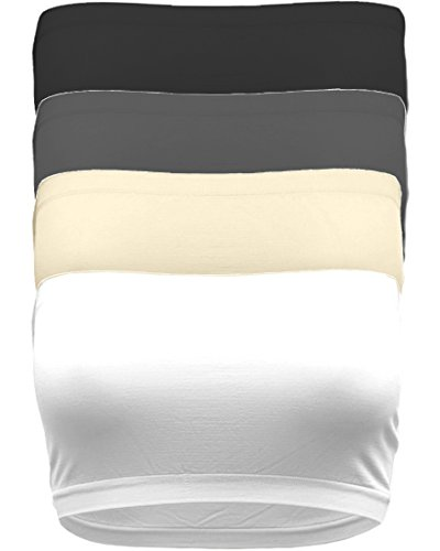TL Women's 4 Pack One Size Strapless Seamless Active Base Layer Bandeau Tube Top (ONE Size, 4 Packs: BLK_WHT_TPE_CHA)