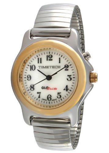 Timetech Glow in the Dark Silver Stretch Expansion Bracelet Gold Bezel Watch 2656L (Prestige Bezel Bracelet)