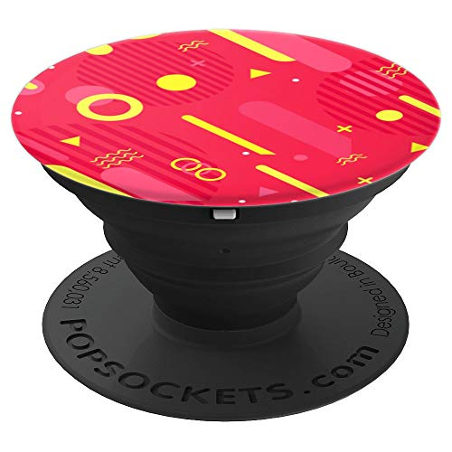 Red and Yellow 90s nineties abstract geometric retro shapes - PopSockets Grip and Stand for Phones and Tablets